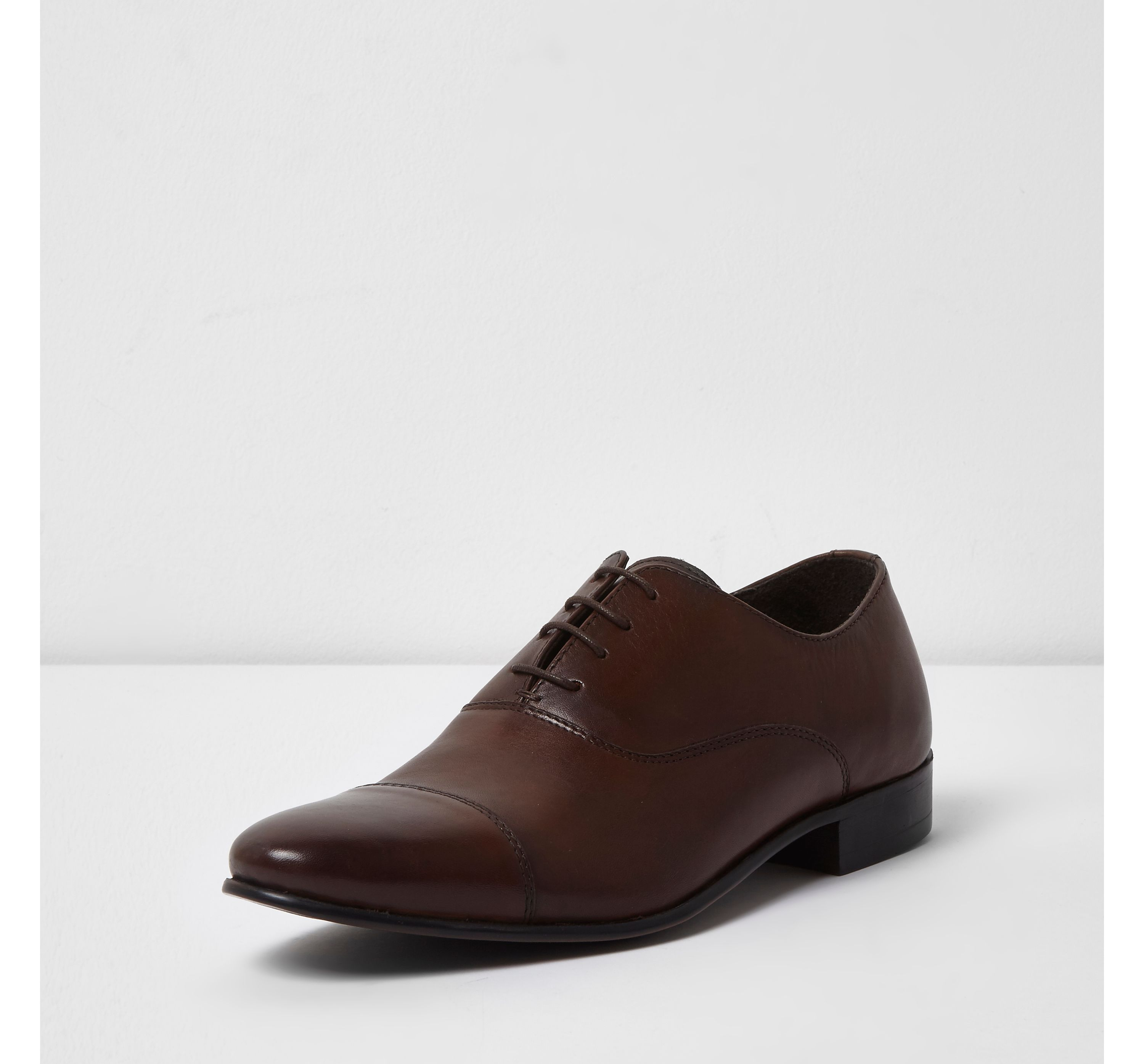 River Island Mens Dark Brown leather toe cap Oxford shoes
