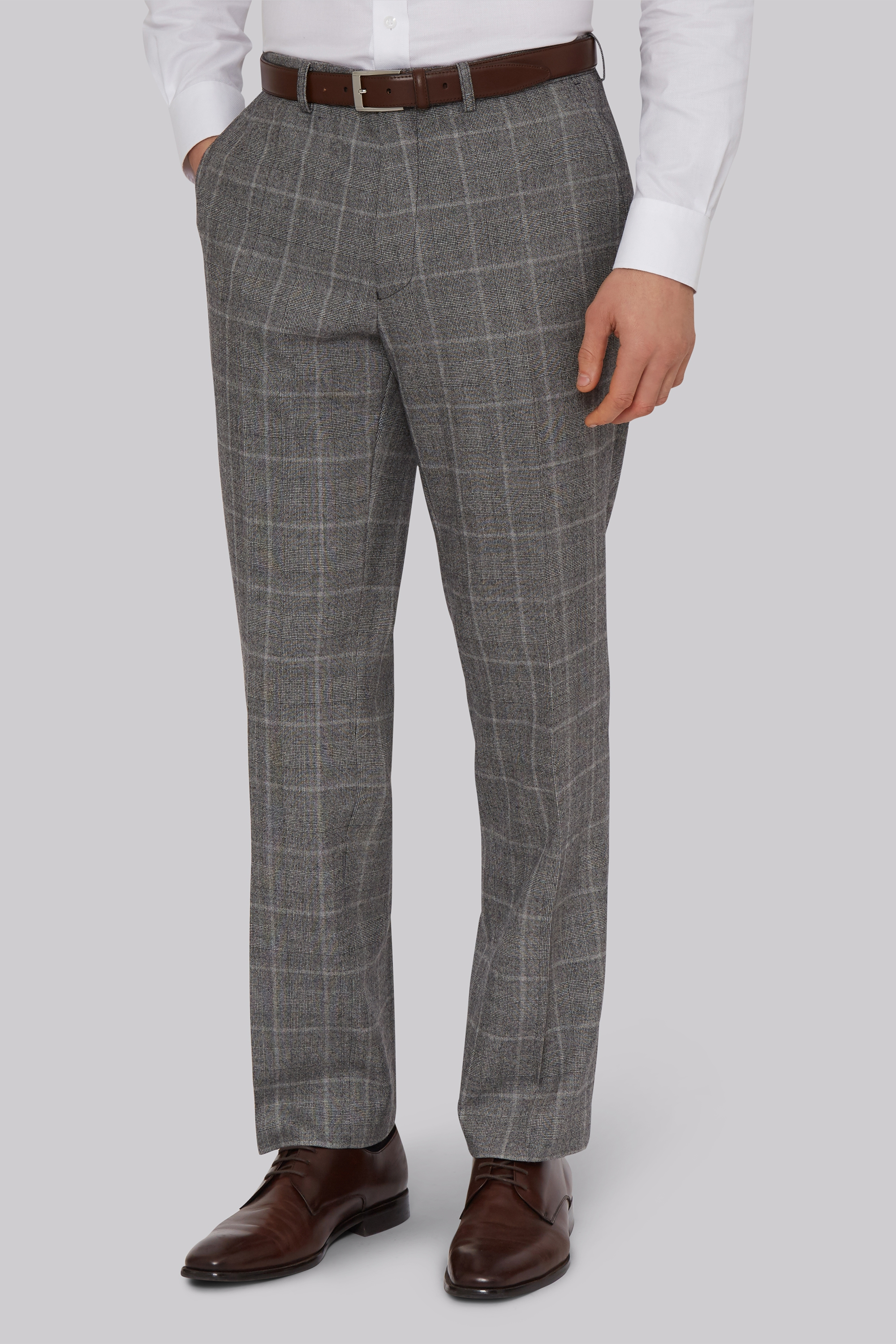 Moss Bros Savoy Taylors Guild Regular Fit Black and White Check Trousers