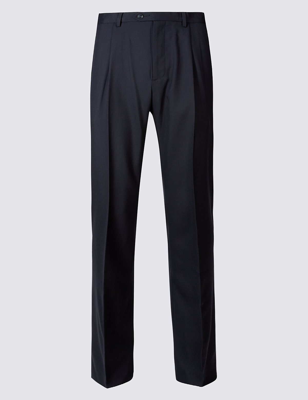 Marks & Spencer Navy Regular Fit Wool Rich Single Pleated Trousers