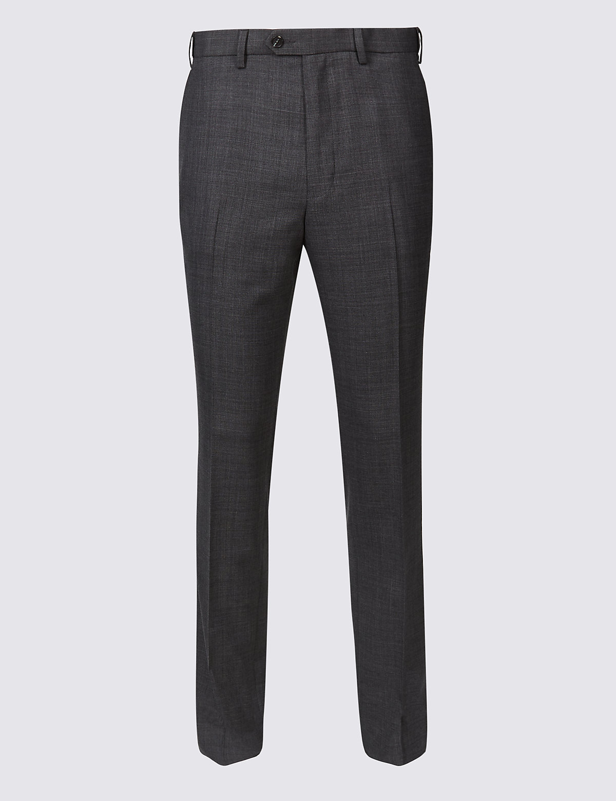 Marks & Spencer Grey Slim Fit Wool Blend Flat Front Trousers