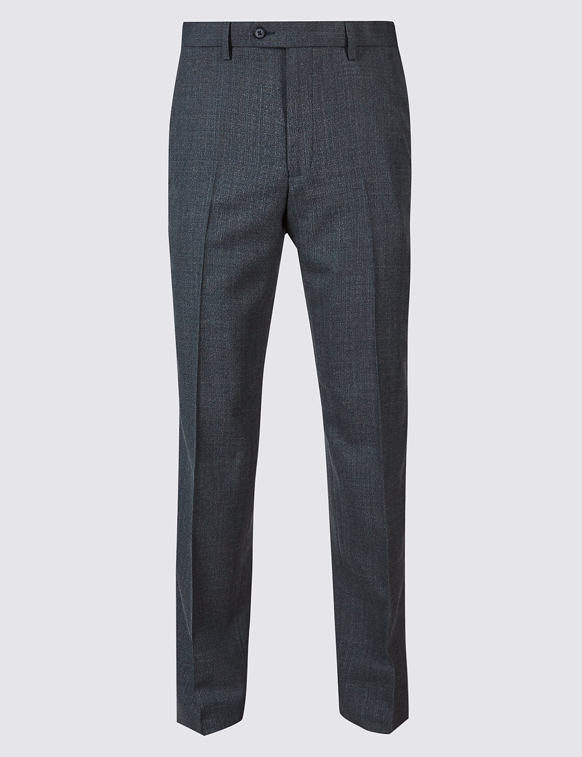 Marks & Spencer Navy Tailored Fit Wool Blend Flat Front Trousers