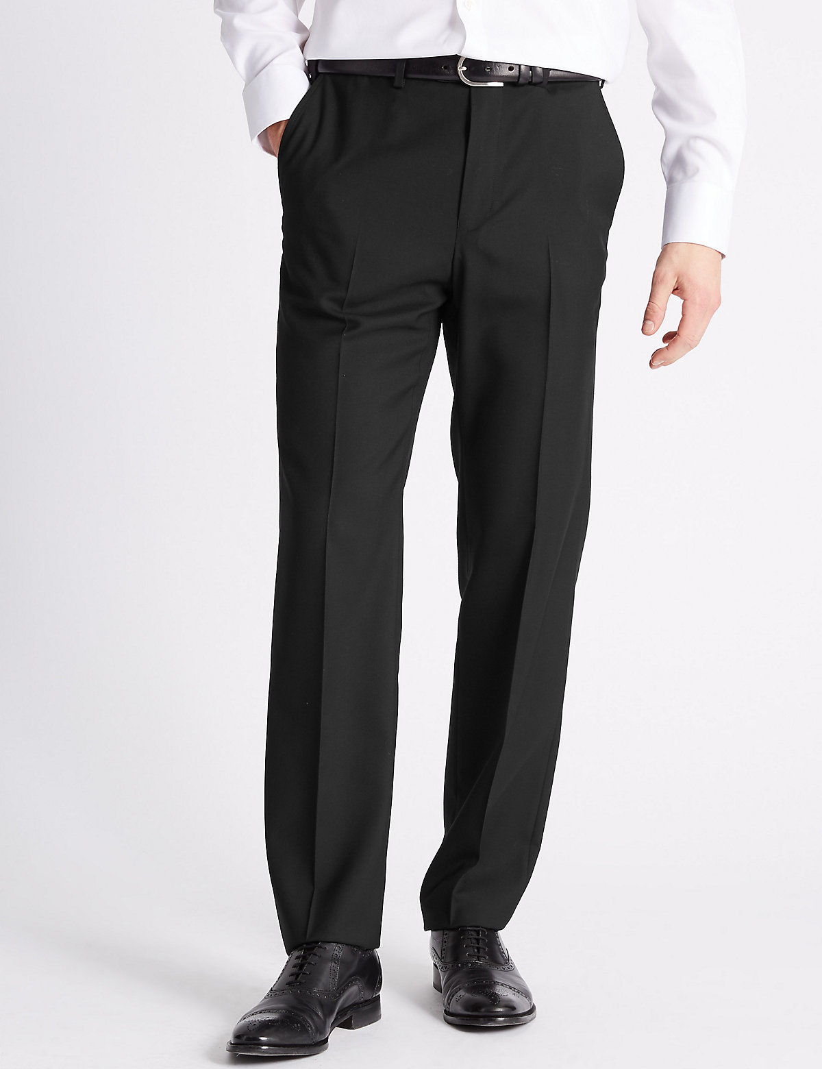 Marks & Spencer Black Tailored Fit Wool Blend Flat Front Trousers