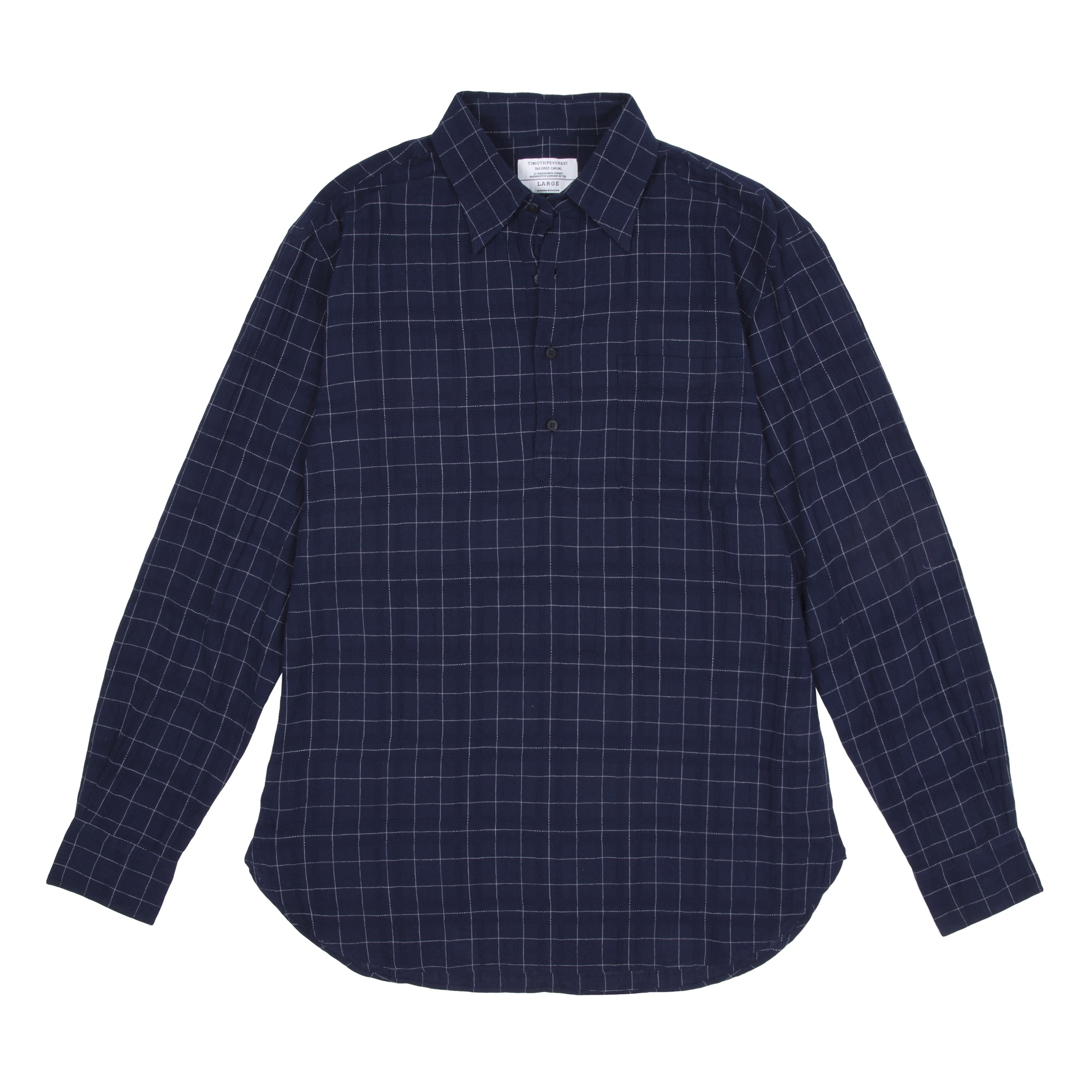 Timothy Everest Navy Square Weave Pop Over Shirt