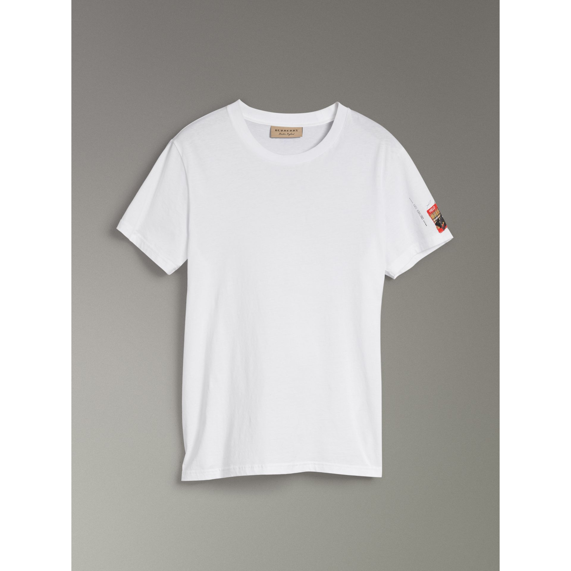 Burberry White Graffitied Ticket Print T-shirt