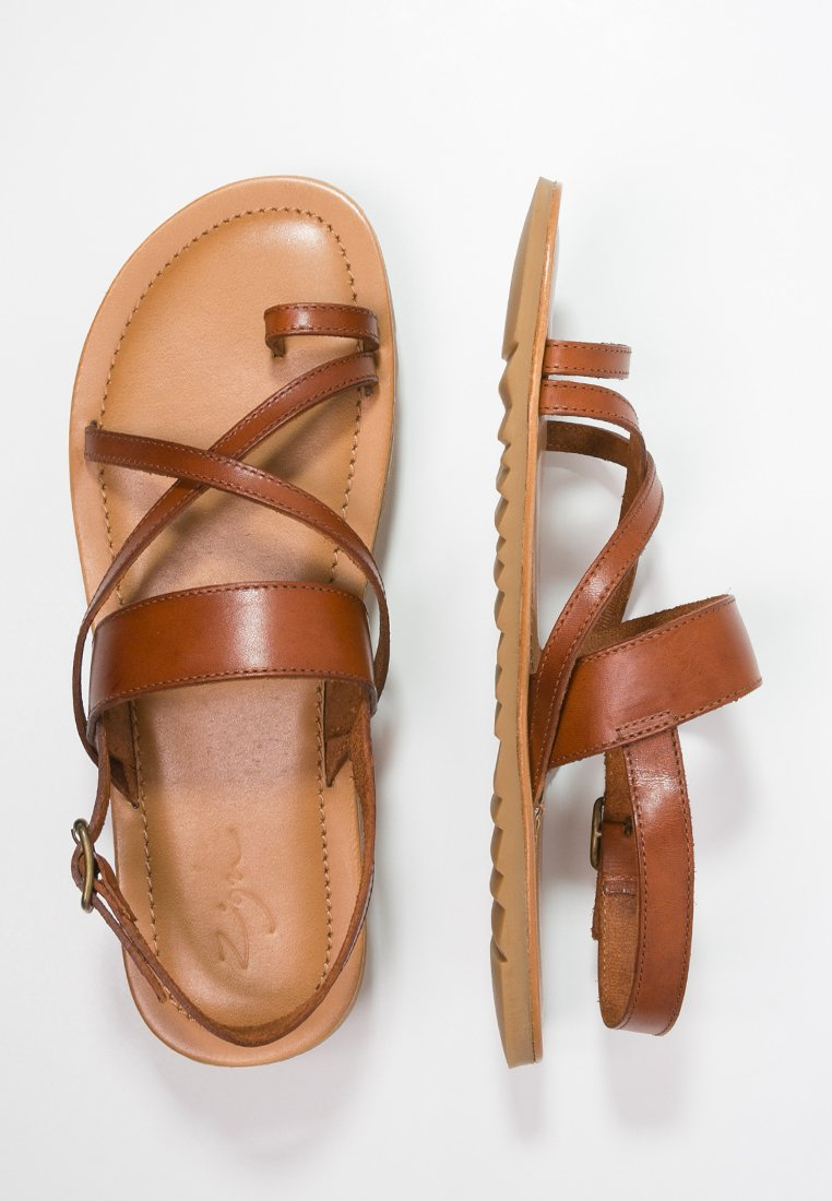 Zign cognac T-bar sandals