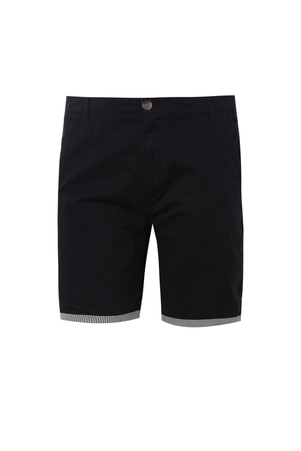 boohooMAN navy Big And Tall Chino Short With Stripe Turn Up