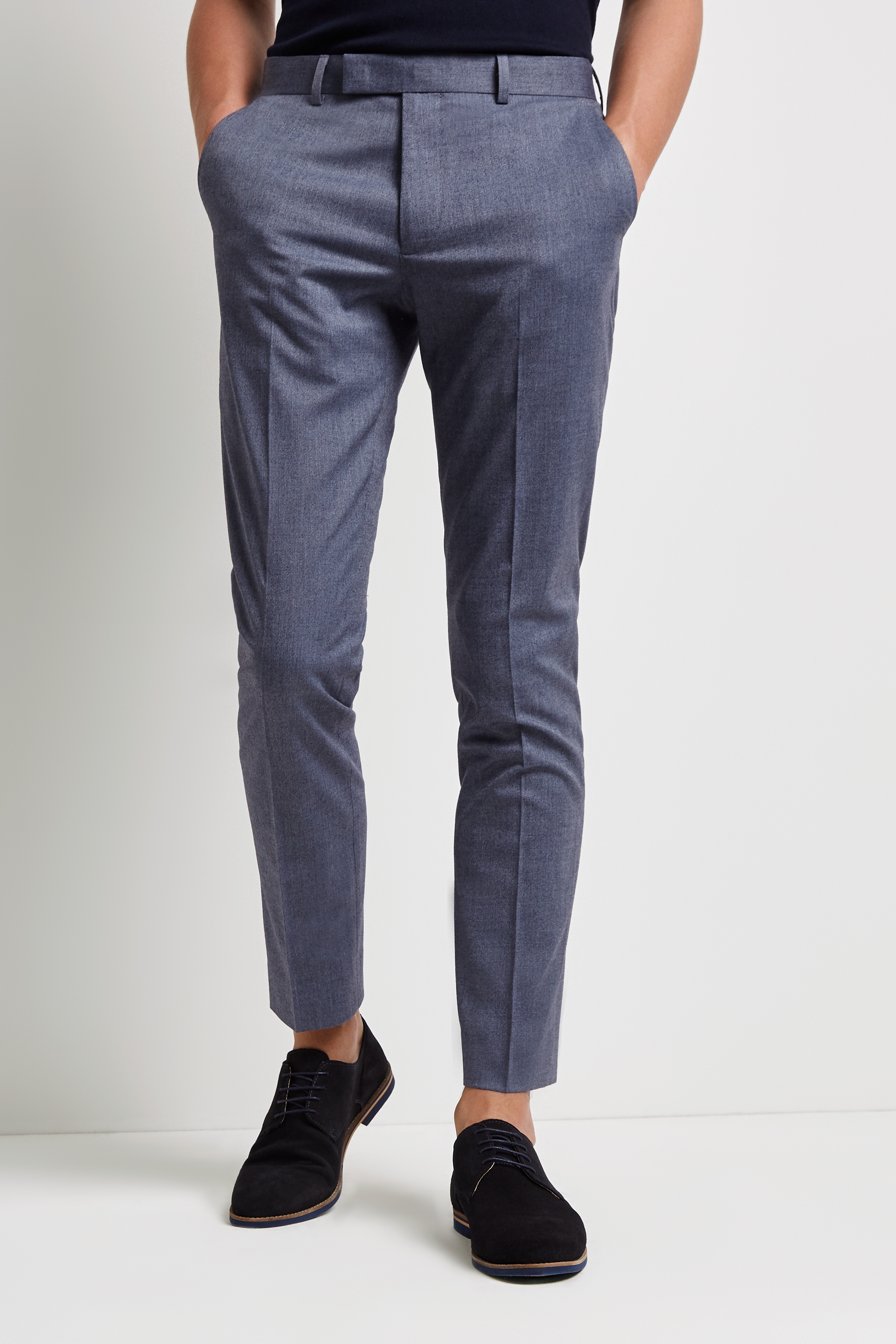 Moss Bros Moss London Skinny Fit Unstructured Graphite Trousers