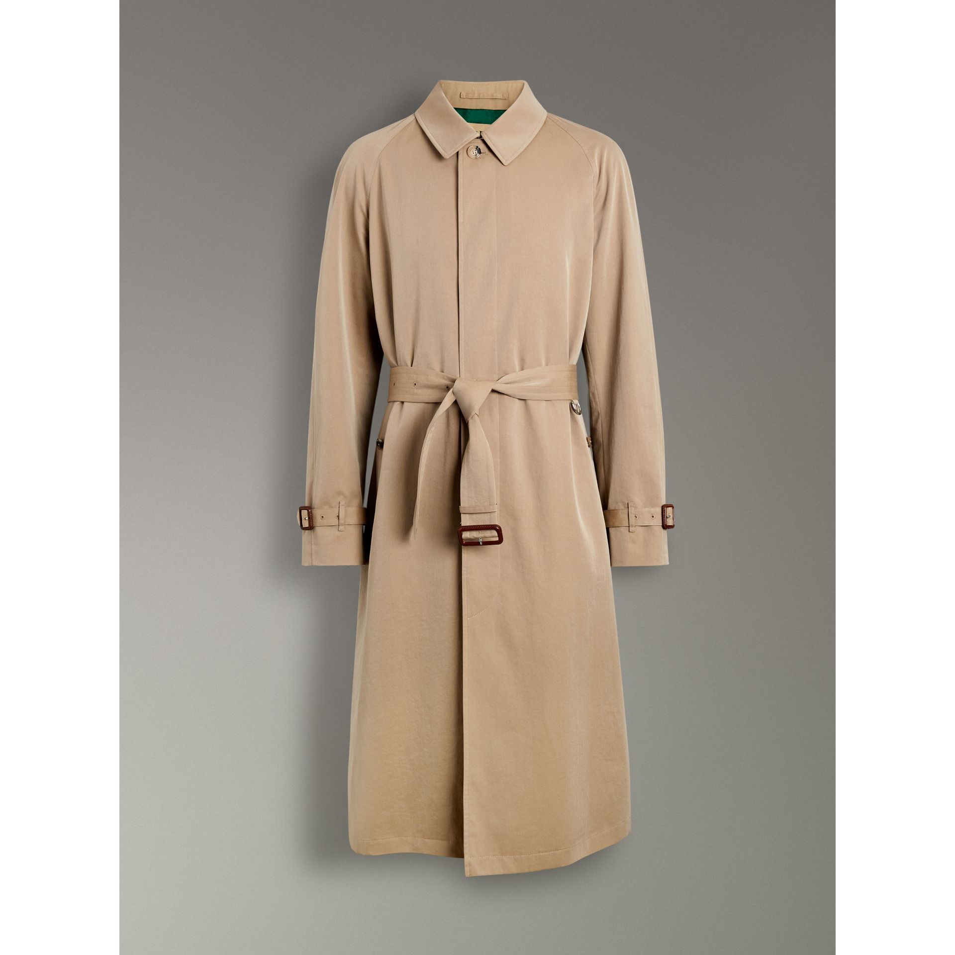 Burberry Camel Archive-print-lined Tropical Gabardine Car Coat