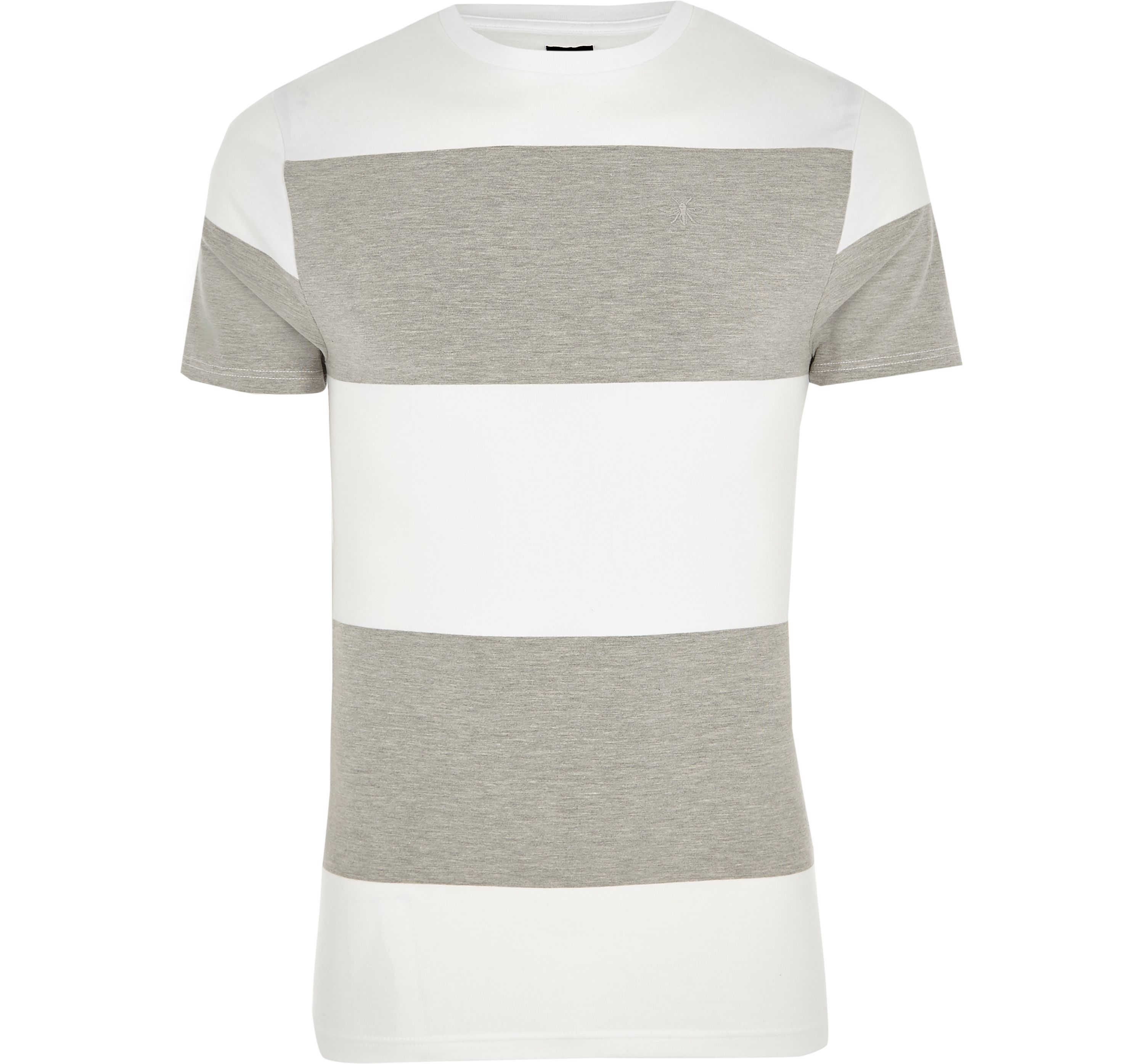River Island Mens Grey marl colour block muscle fit T-shirt