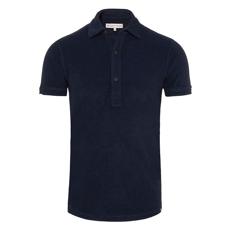 Orlebar Brown SEBASTIAN TOWELLING Navy Tailored Fit Towelling Polo