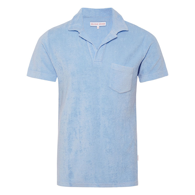 Orlebar Brown TERRY TOWELLING Powder Blue Towelling Resort Polo