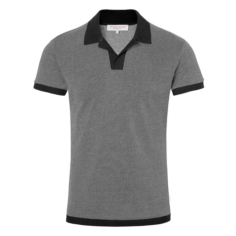 Orlebar Brown FELIX PIQUE Pale Grey/Charcoal Resort Polo