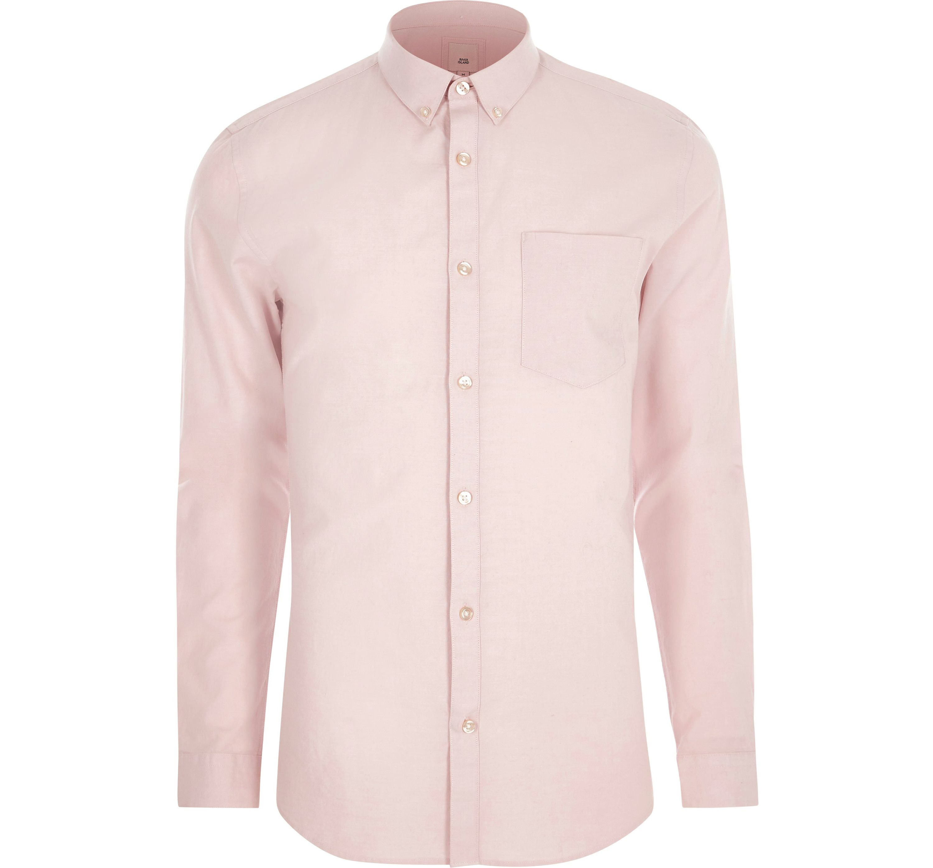 River Island Mens Pink long sleeve muscle fit Oxford shirt