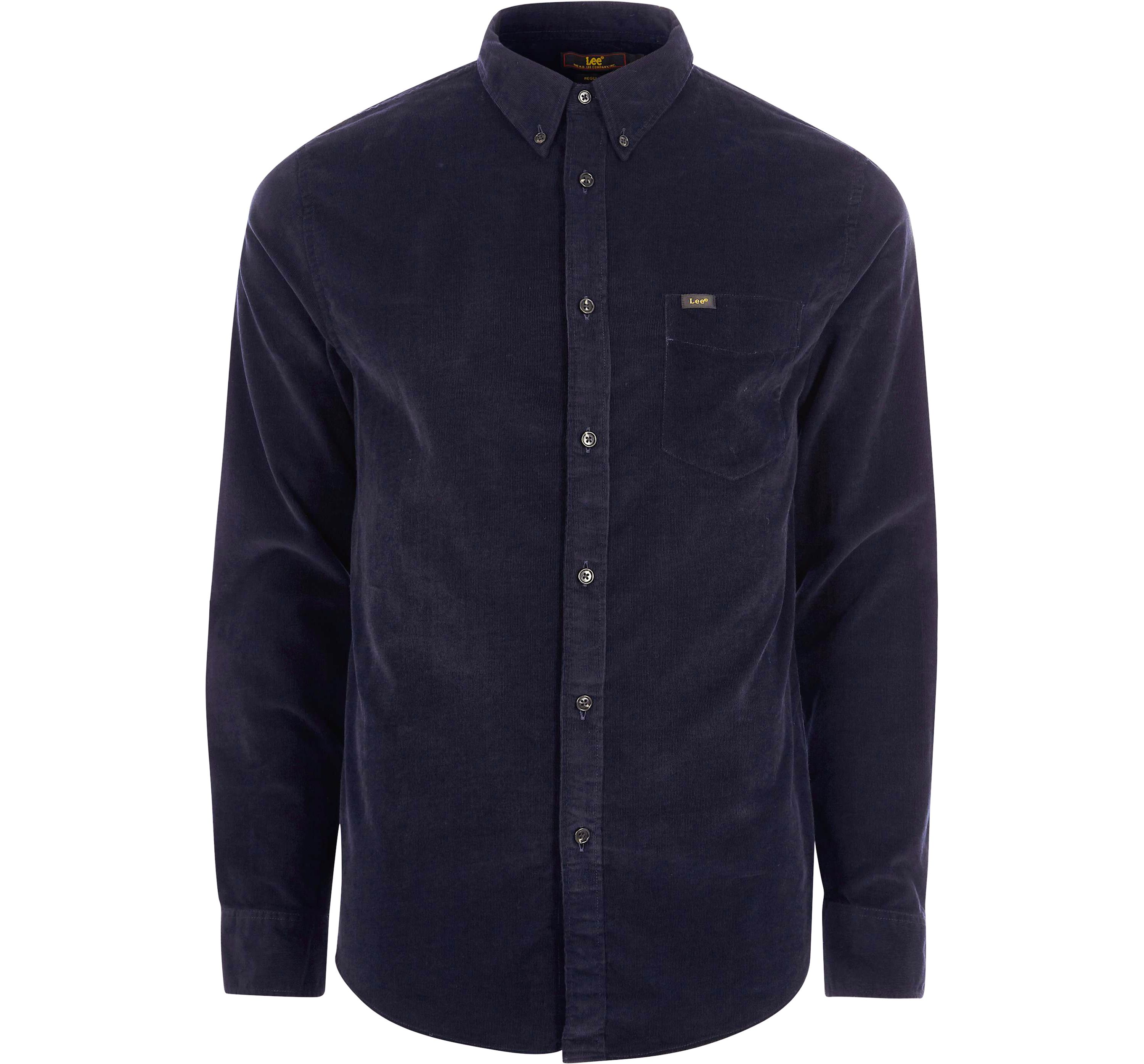 River Island Mens Lee Navy cord button-down Oxford shirt