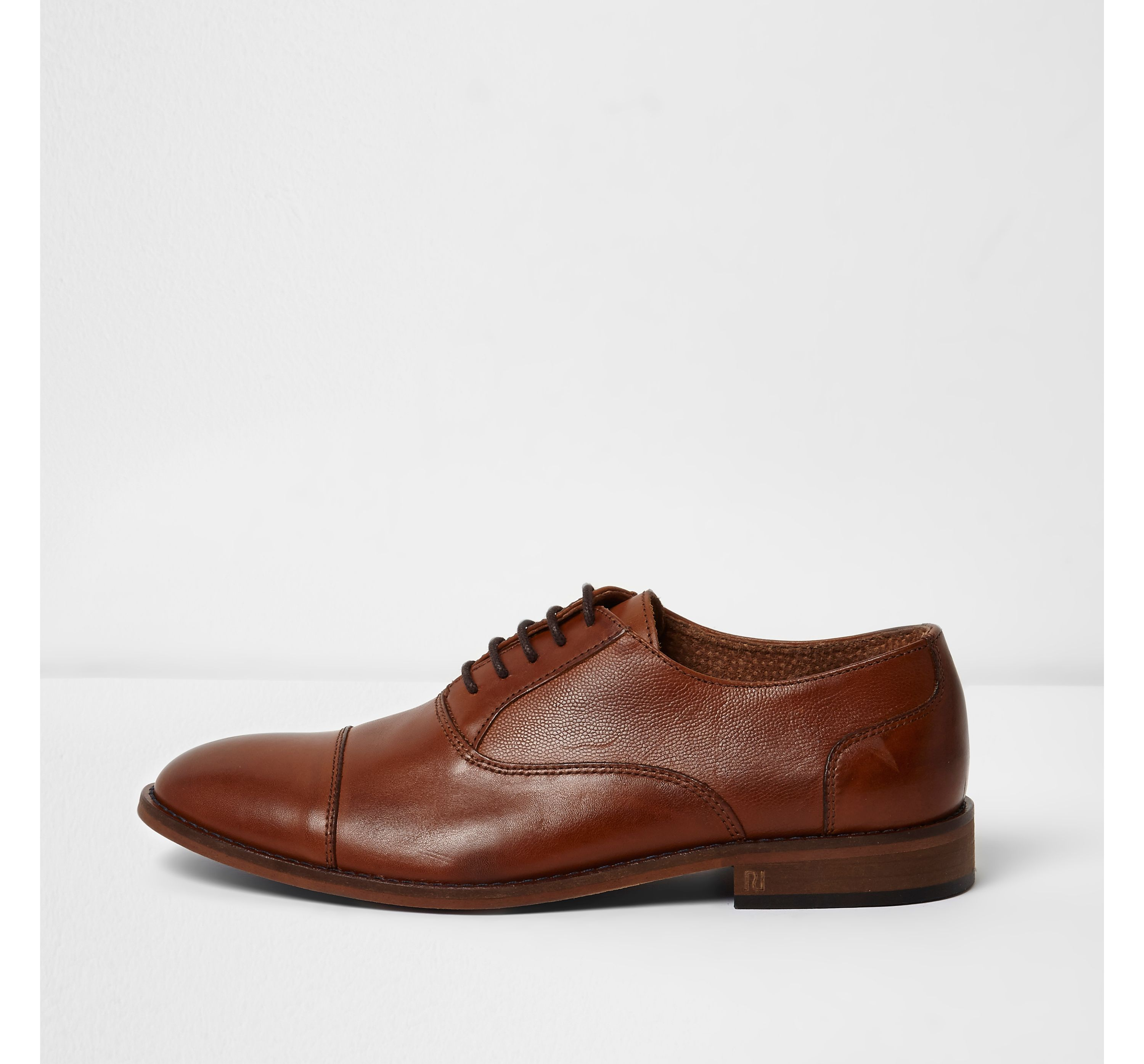 River Island Mens Tan leather toecap lace-up oxford shoes