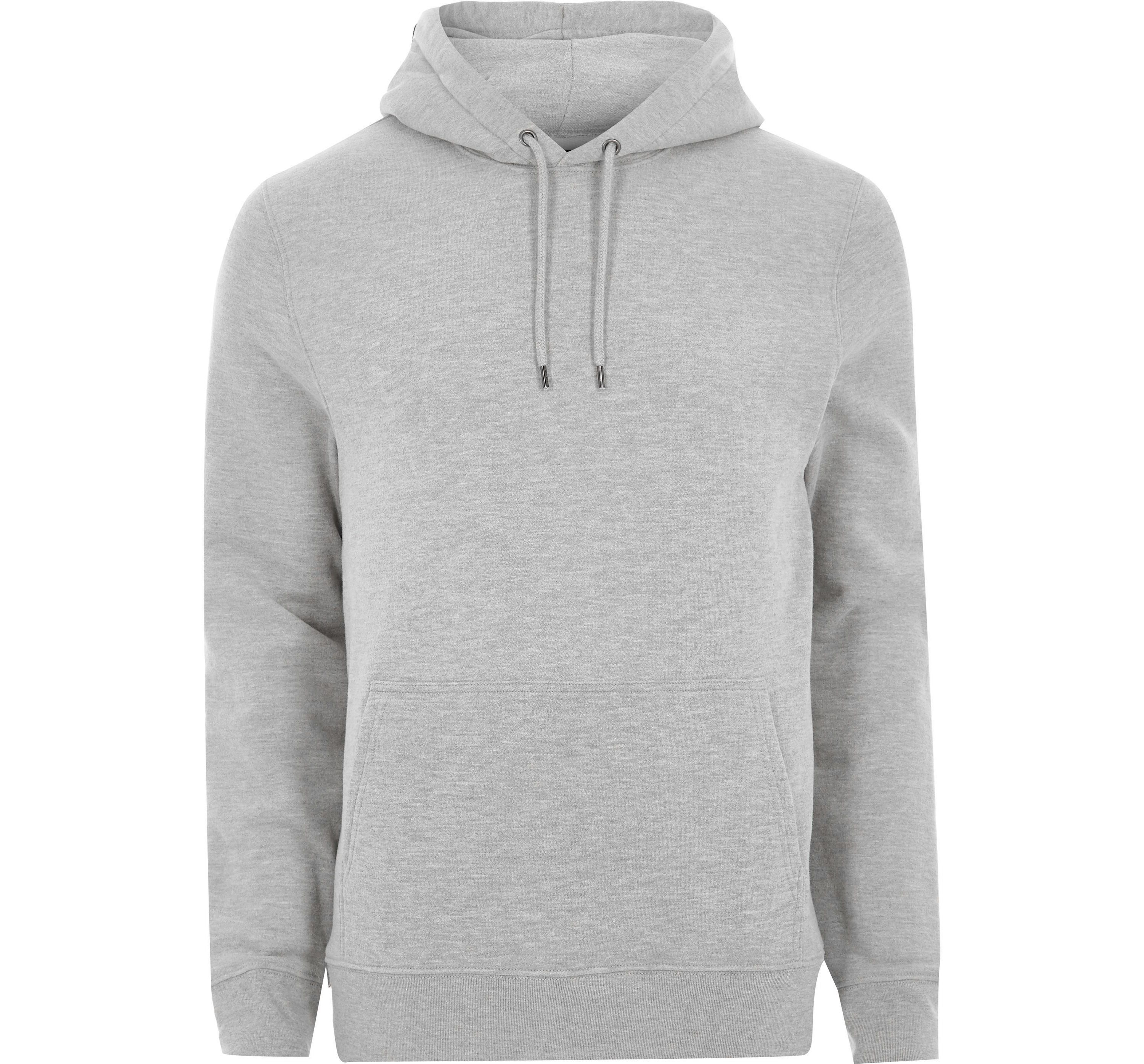 River Island Mens Light Grey long sleeve hoodie