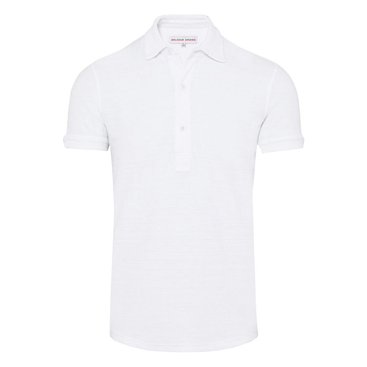 Orlebar Brown SEBASTIAN TOWELLING White Tailored Fit Towelling Polo