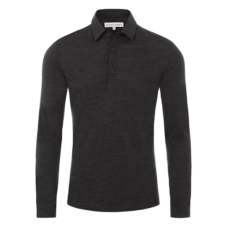 Orlebar Brown LINWOOD Charcoal Melange Tailored Fit Merino Long-Sleeve Polo