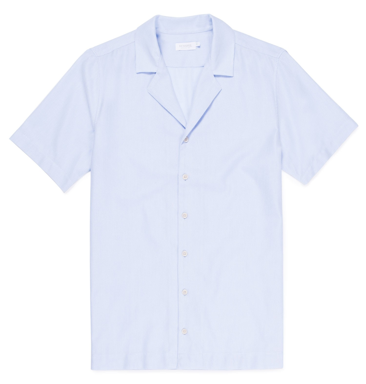 Sunspel Light Blue Men's Cotton Mesh Camp Collar Shirt