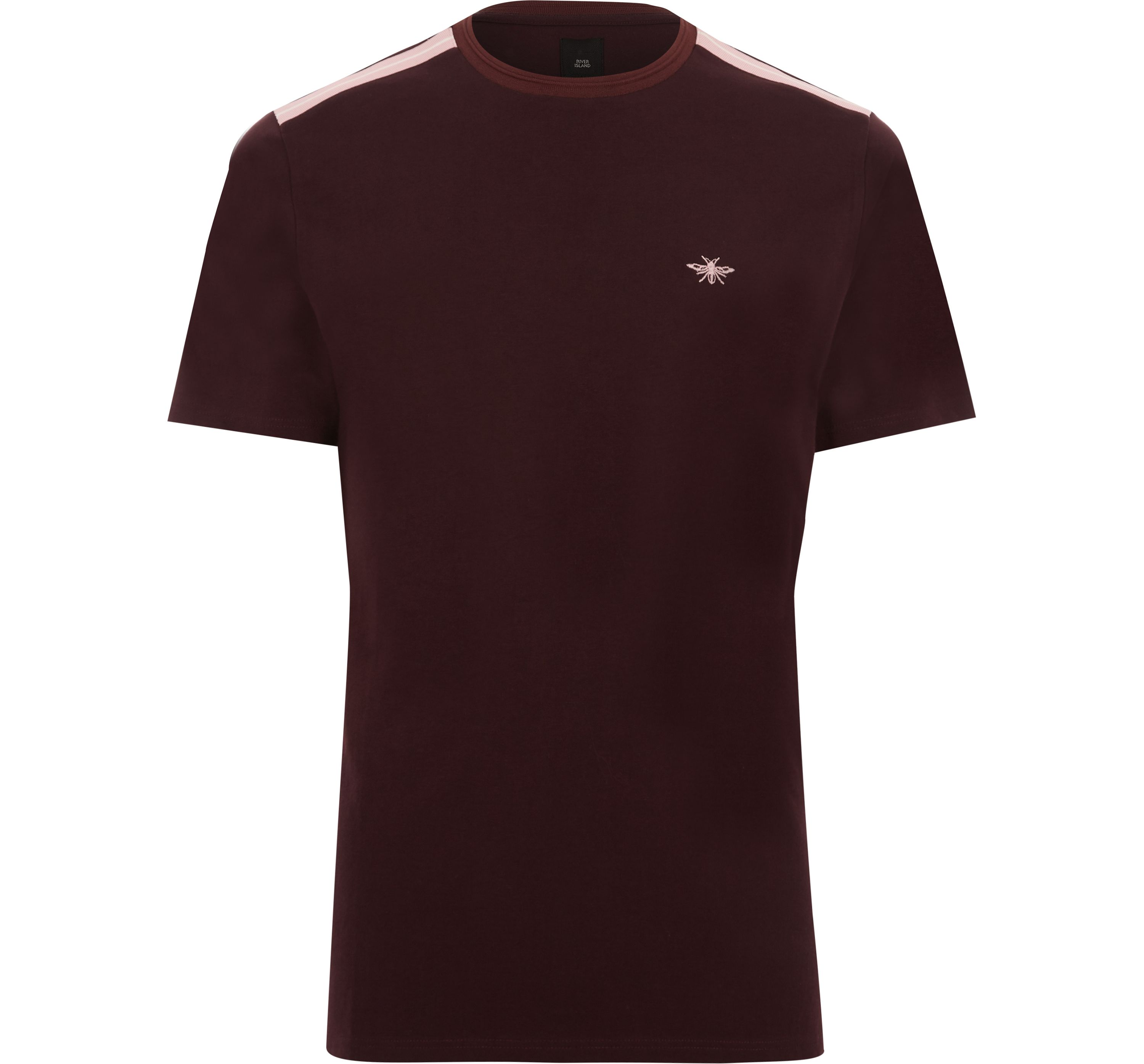 River Island Mens Dark Red tape muscle fit T-shirt