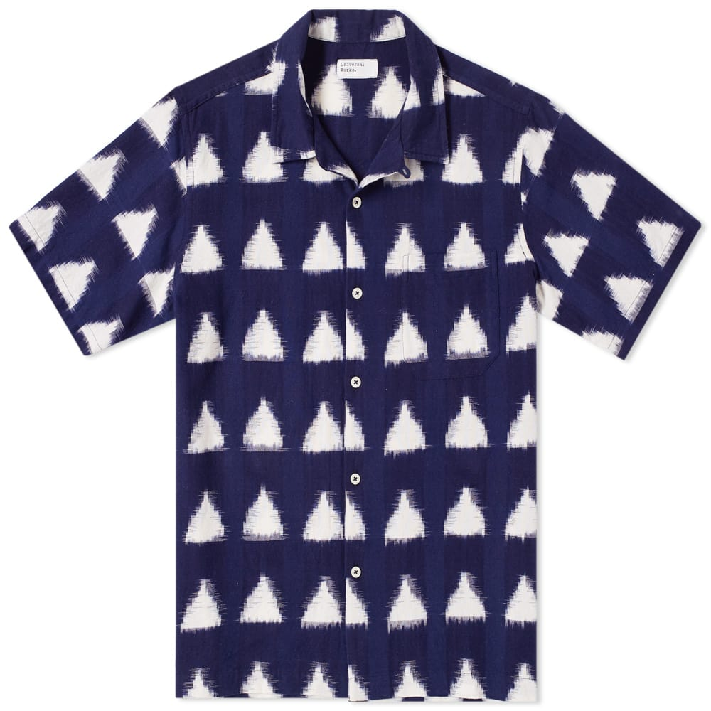 Universal Works Navy Ikat Arrow Short Sleeve Road Shirt