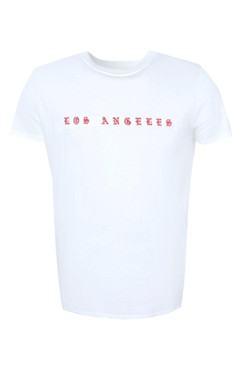 boohooMAN white Los Angeles Embroidered T-Shirt