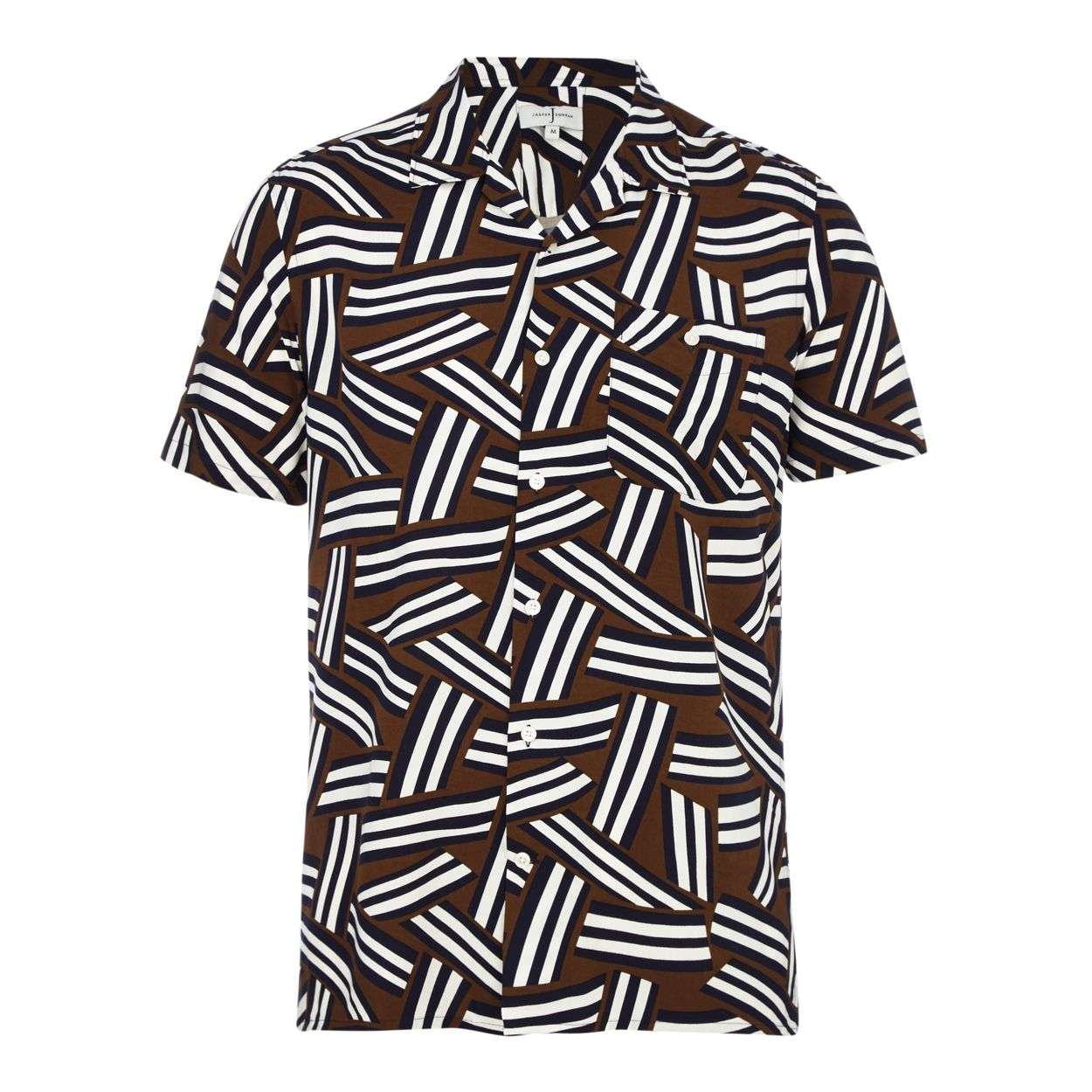 J by Jasper Conran Tan geometric print short sleeve shirt