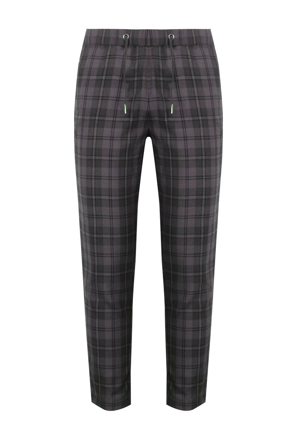 boohooMAN Dele Grey Check Woven Jogger With Elasticated Waist