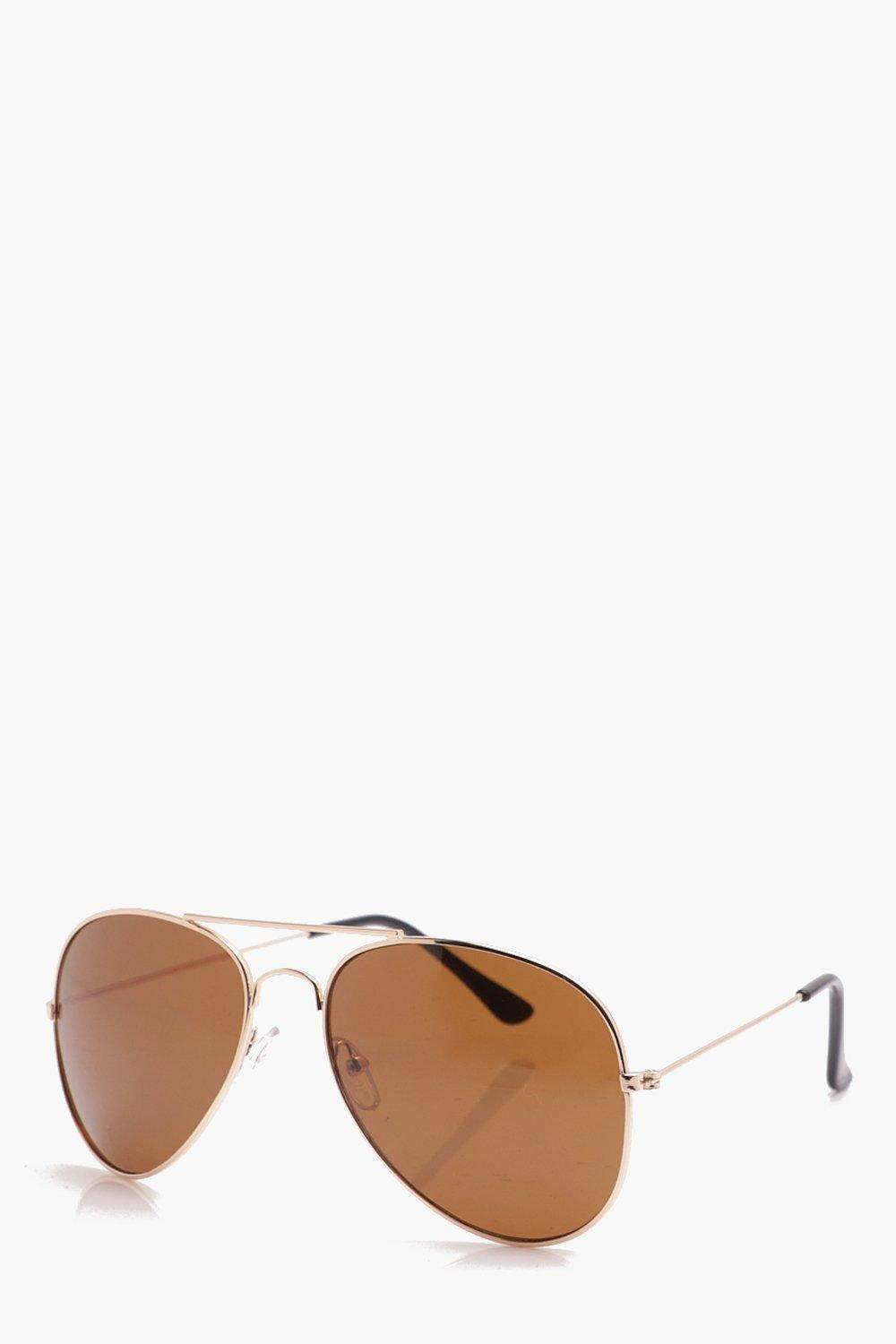 boohooMAN gold Classic Aviator Sunglasses With Brown Lens