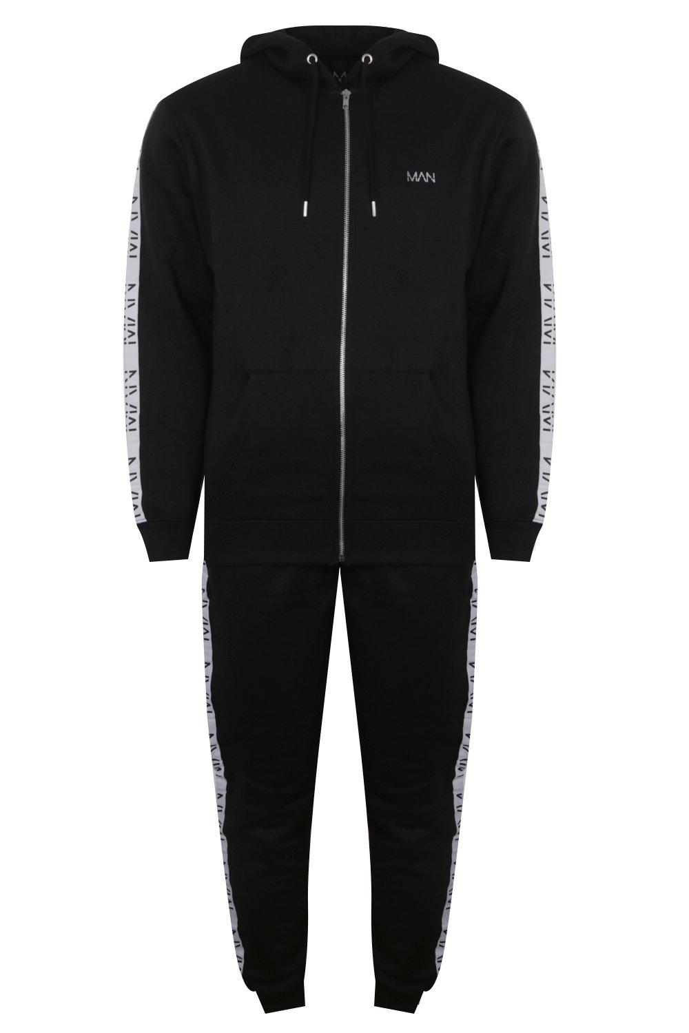 boohooMAN black Original MAN Embroidered Tracksuit With Tape