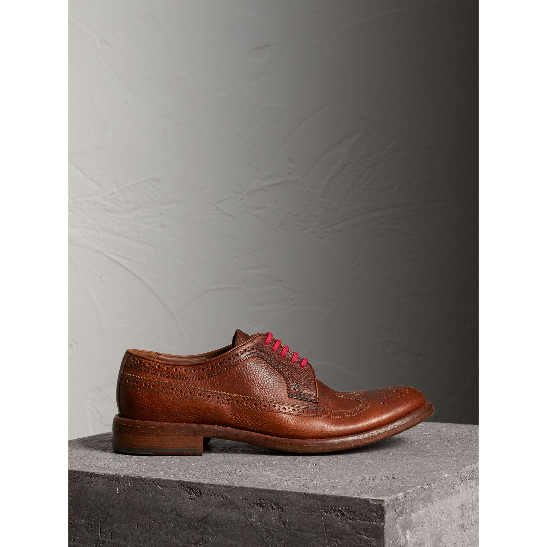 Burberry Vintage Chestnut Grainy Leather Brogues with Bright Laces