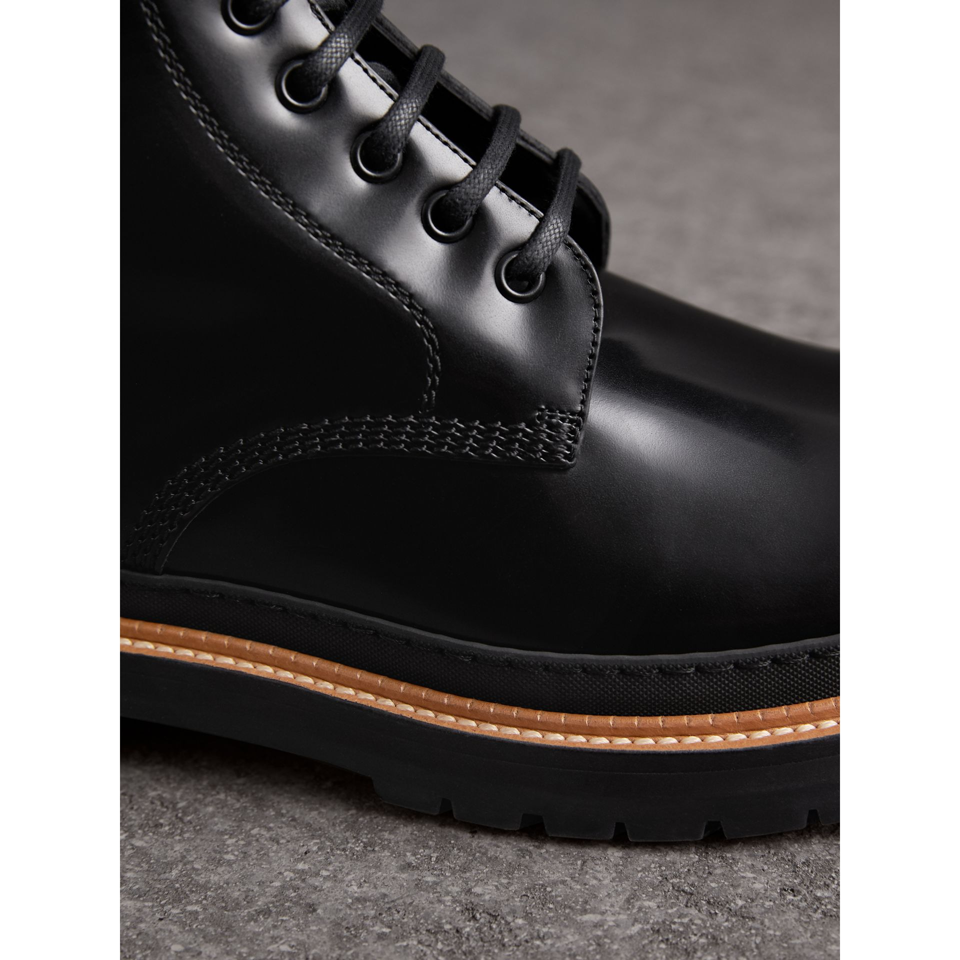 Burberry Black Lace-up Polished Leather Boots