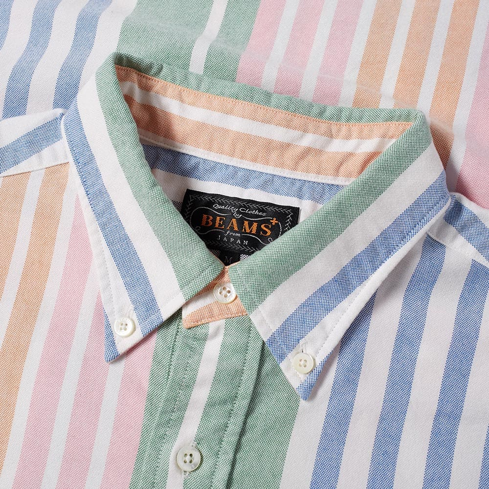 555440a0400 Beams Plus Short Sleeve Popover Wide Stripe Oxford Shirt