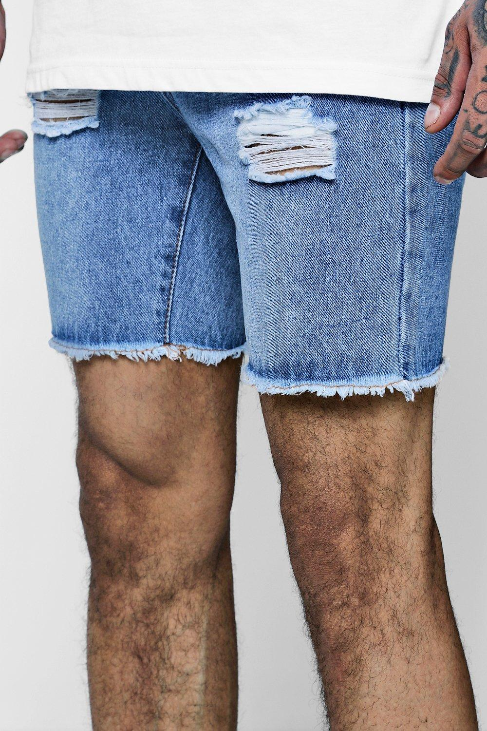 boohooMAN vintage wash Slim Fit Denim Shorts With Exposed Fly