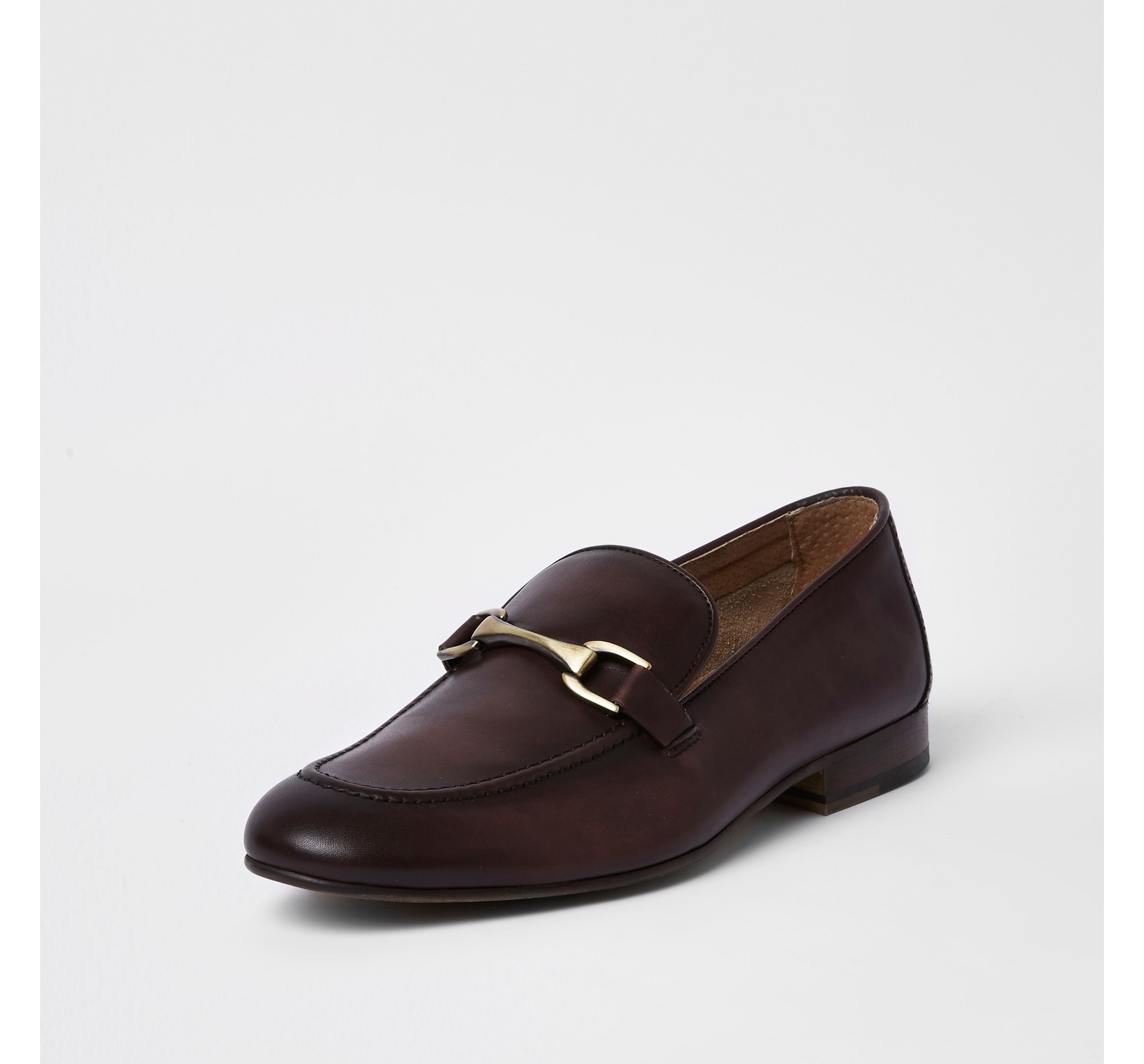 River Island Mens Dark Red leather snaffle loafers