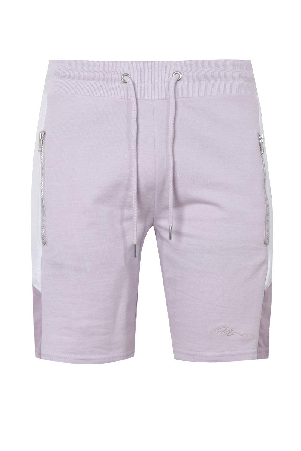 boohooMAN lilac MAN Signature Slim Mid Length Shorts