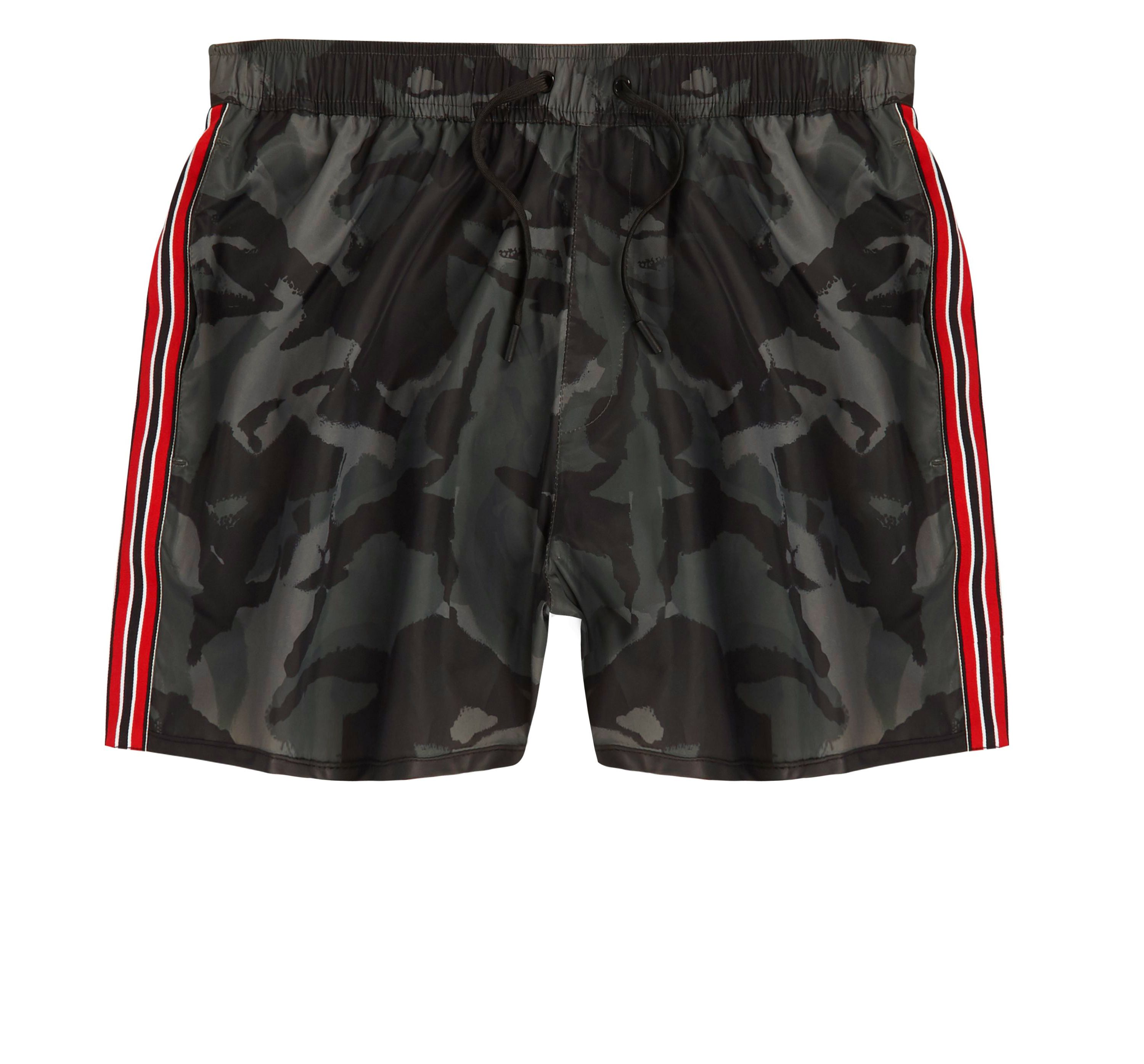 River Island Mens Khaki camo tape side swim shorts