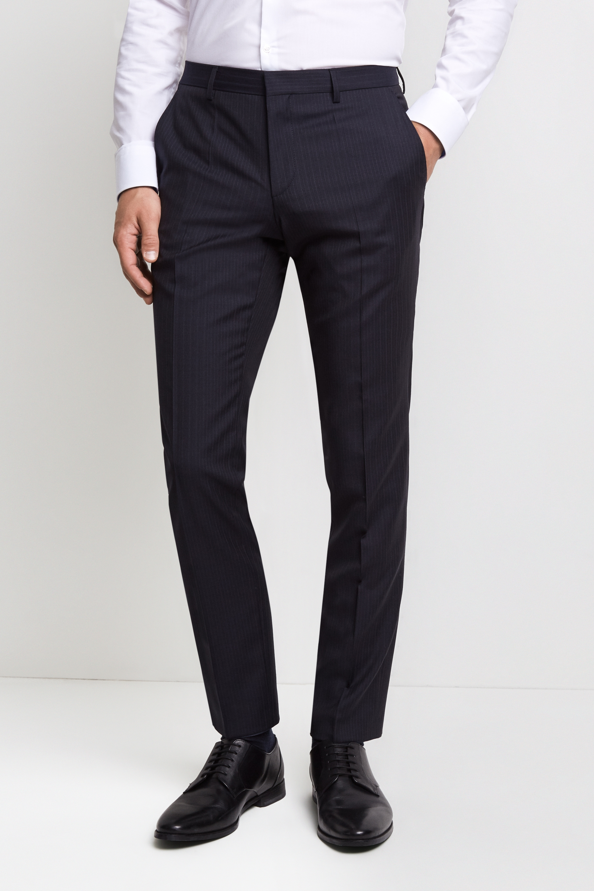 HUGO by Hugo Boss Tailored Fit Navy Pinstripe Trousers