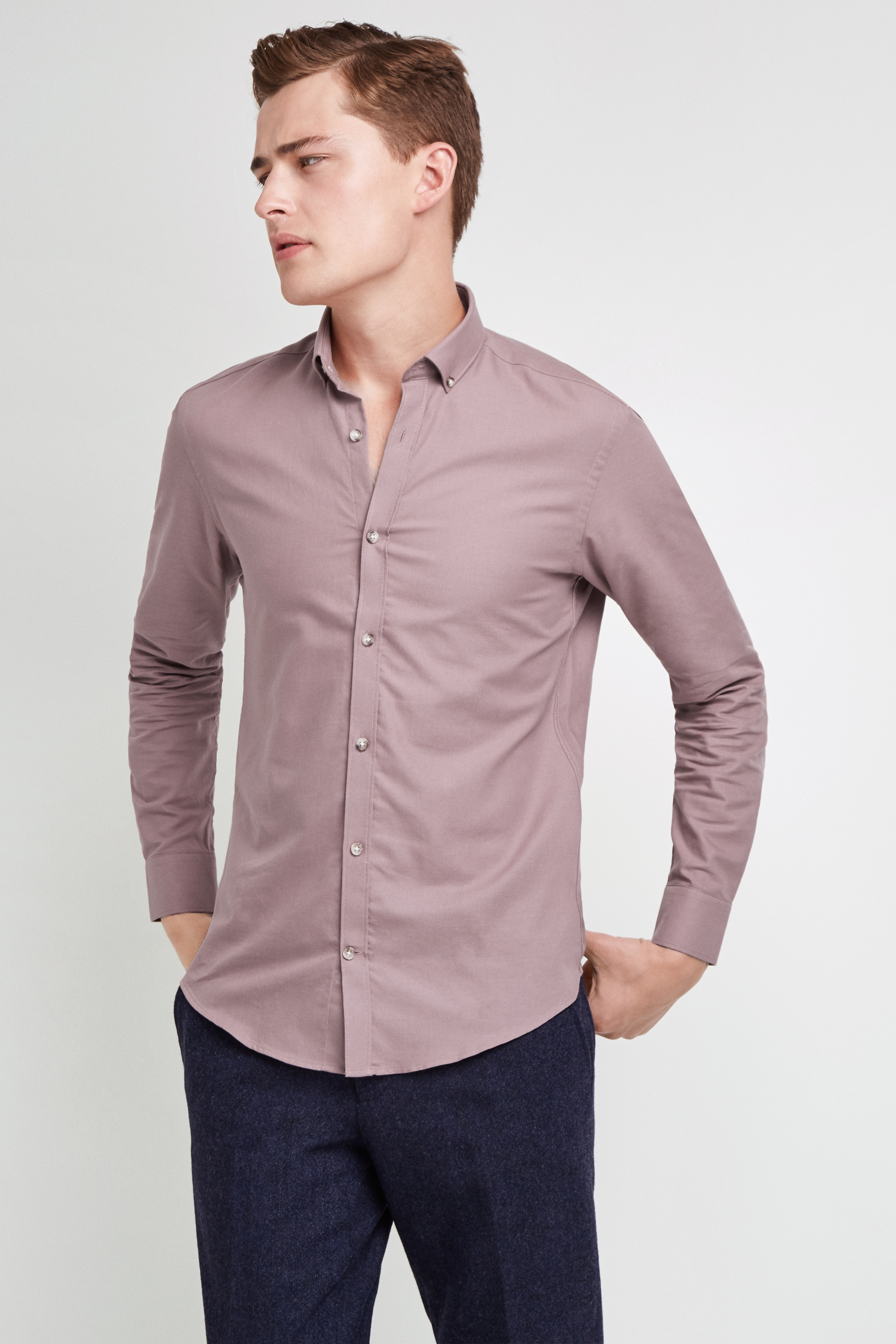 Moss Bros Moss London Skinny Fit Pink Single Cuff Oxford Button Down Casual Shirt