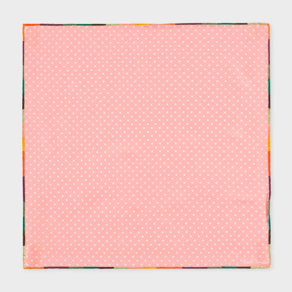 Paul Smith Men's Pink Polka Dot Silk Pocket Square With 'Artist Stripe' Edge