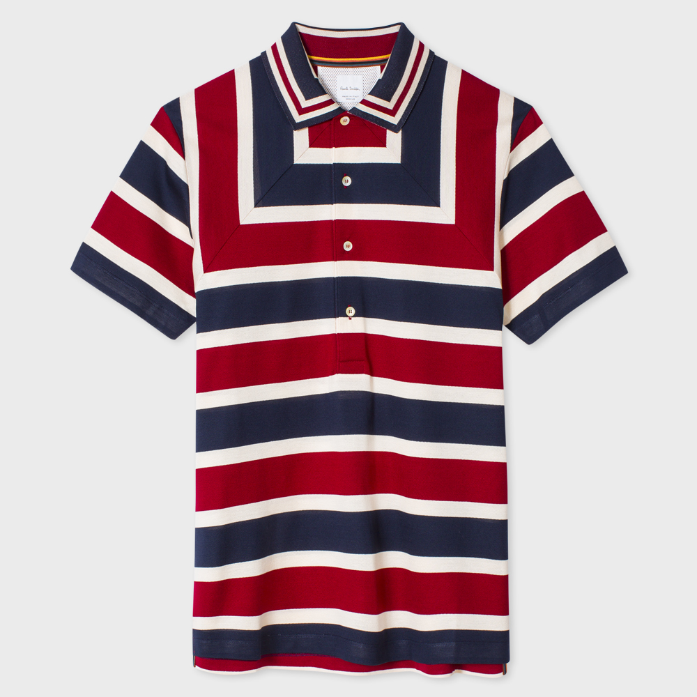 Paul Smith Men's Slim-Fit Red, White And Navy Block-Stripe Polo Shirt