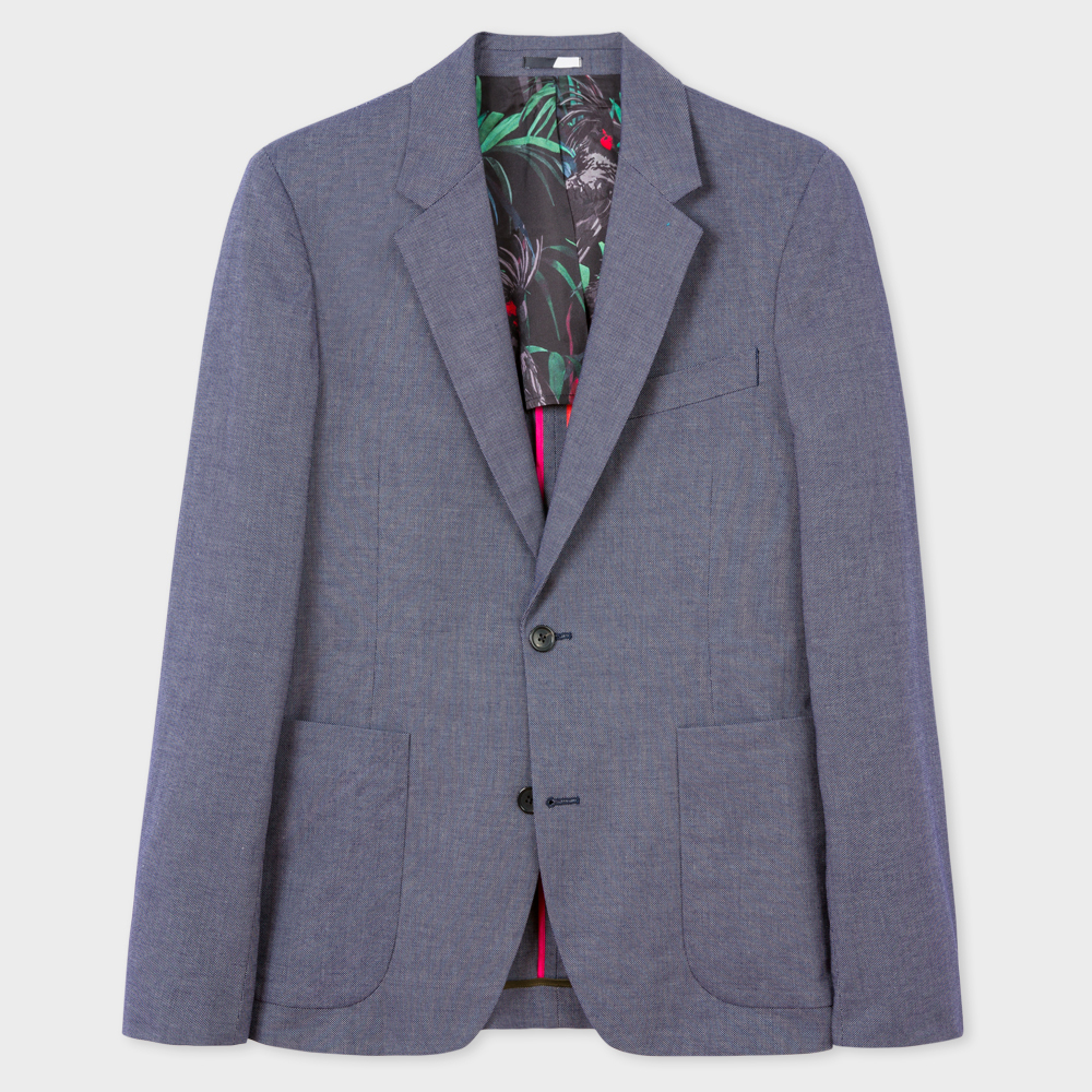 Paul Smith Men's Mid-Fit Navy And White Pin-Dot Stretch-Cotton Blazer
