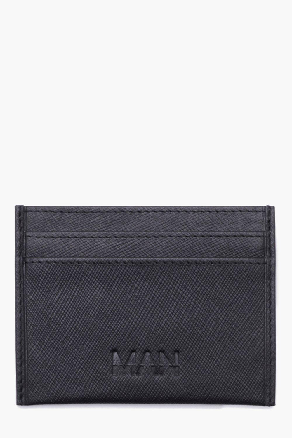 boohooMAN black Real Leather Saffiano Emboss Card Holder