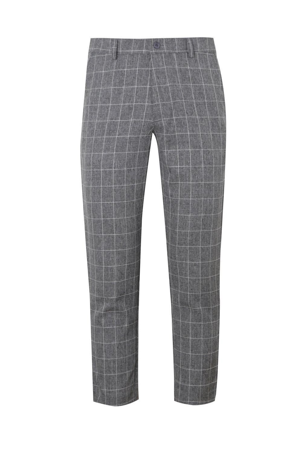 boohooMAN Dele Tapered Fit Trouser In Grey Windowpane Check
