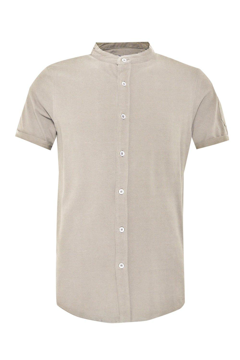 boohooMAN stone Short Sleeve Granded Shirt With Pocket Detail