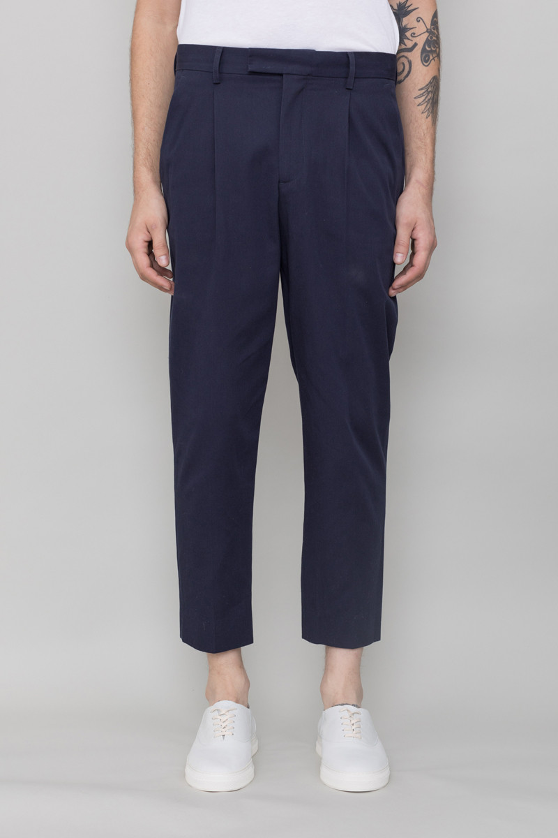 Folk Wide Tailored Trouser - Navy Twill