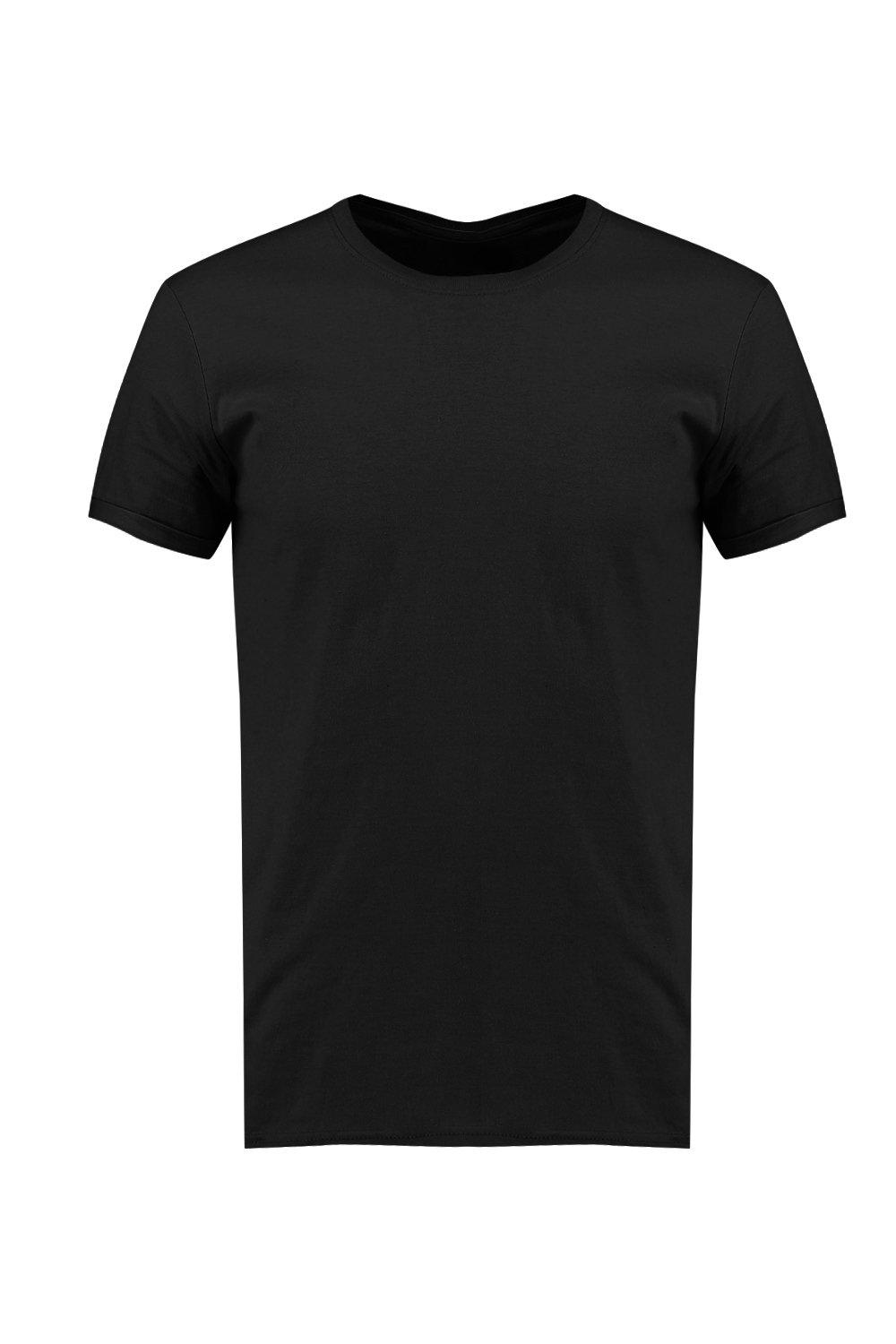 boohooMAN black Crew Neck T-Shirt with Rolled Sleeves