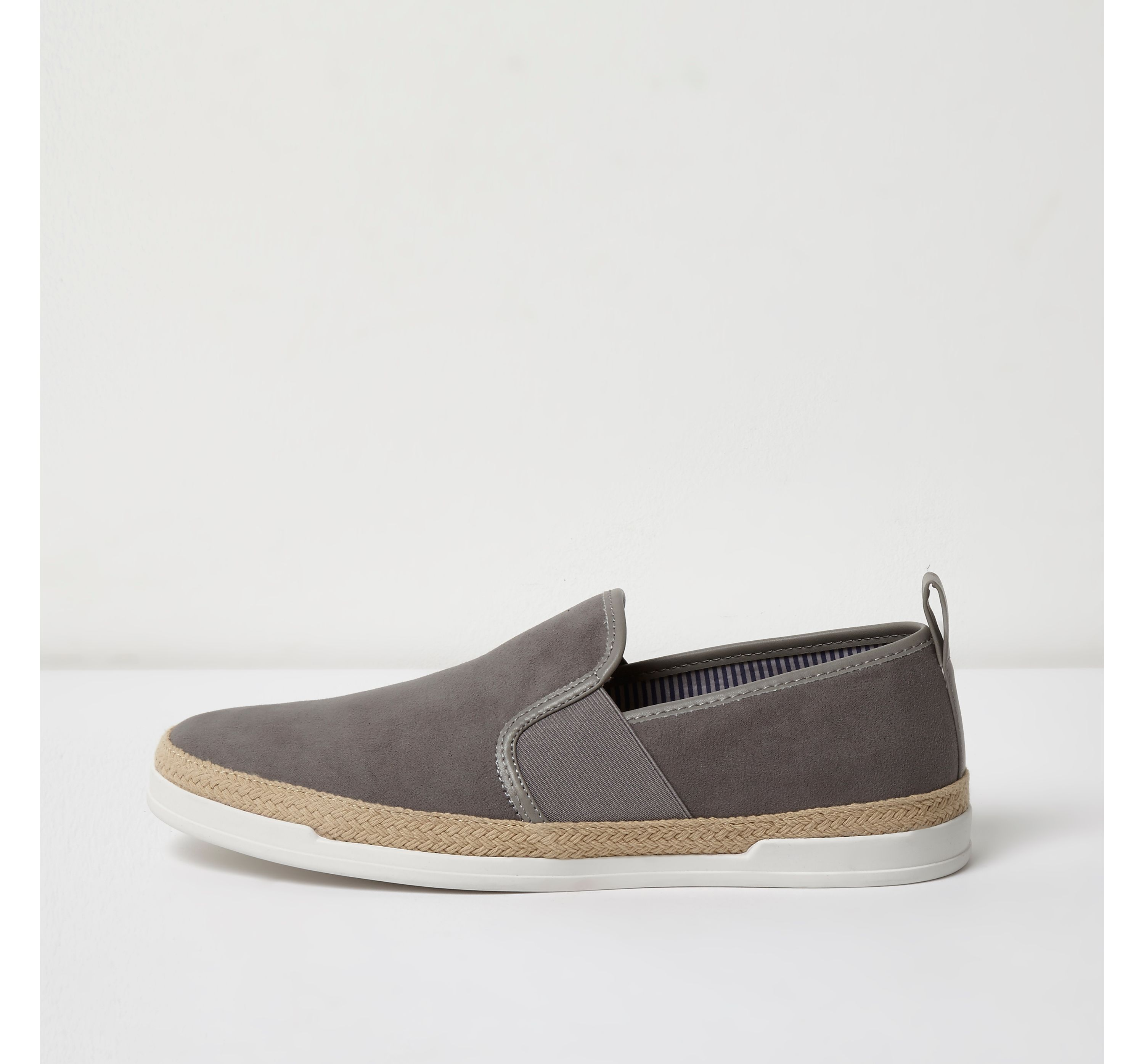 River Island Mens Grey espadrille trim slip on plimsolls