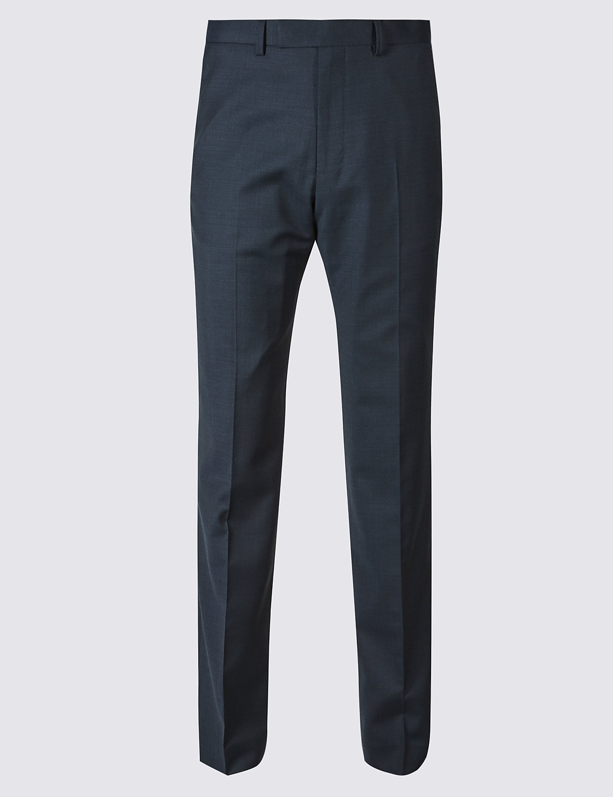 Marks & Spencer Navy Regular Fit Wool Trousers