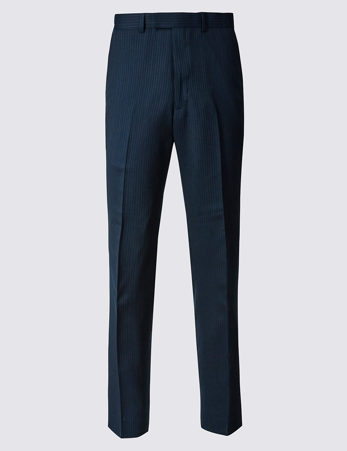 Marks & Spencer Navy Striped Slim Fit Wool Trousers